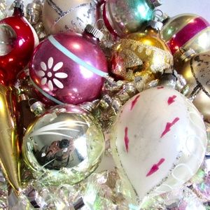 Vintage Glass Ornament Lot Various Styles